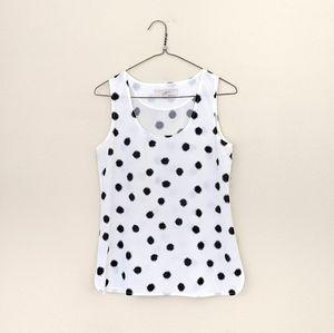 Loft Polka Dot Sleeveless White Black Blouse Sz XS